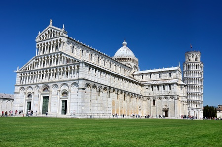 Cathedral of Pisa and Leaning Tower, Romanesque architecture in Tuscany 写真素材