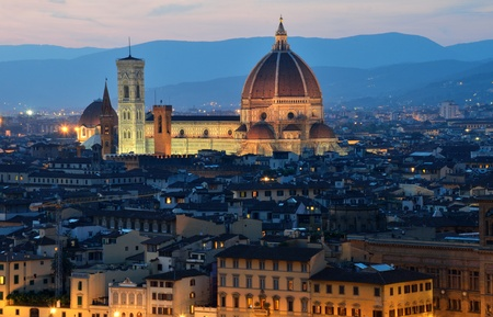 Florence dome and Campanile Tower, night view, Tuscany 写真素材