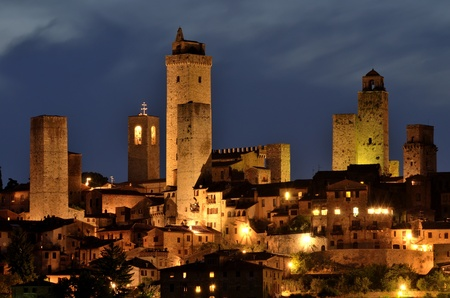 San Gimignano is a small walled medieval hill town in the province of Siena, Tuscany, north-central Italy Imagens