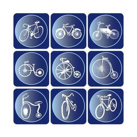 Different types of bicycle icon set Vector