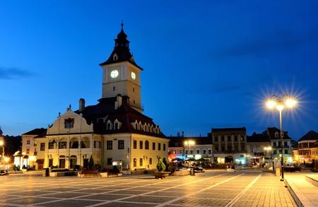 Brasov Council Square, twilight view, Transylvania, Romania photo