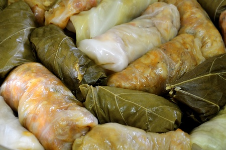 Stuffed cabbage with meat and rice, Romanian traditional cuisine
