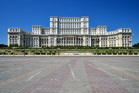 bucarest: Le Palais du Parlement, le deuxi�me plus grand b�timent au monde, construit par le dictateur Ceausescu Banque d'images