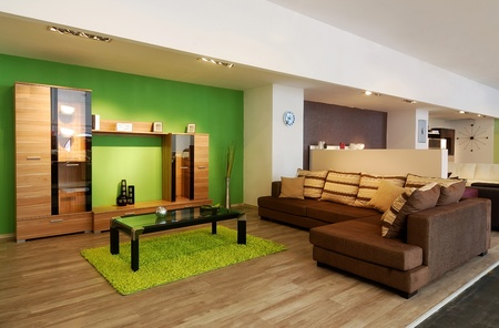 An image of a modern living room, with brown sofa and green walls photo