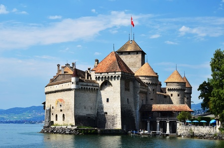 Chateau de Chillon (Castle of Chillon), on lake Geneve,  Montreux, Switzerland Stock Photo