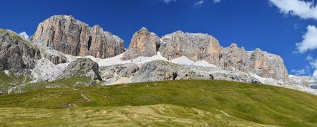 massif: Sella massif in Dolomites mountains seen from Passo Pordoi, Italy Stock Photo