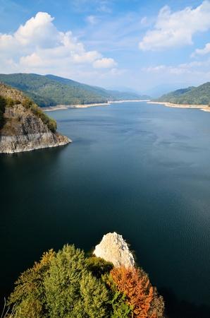 Landscape with dam lake Vidraru, Romania, Europe photo