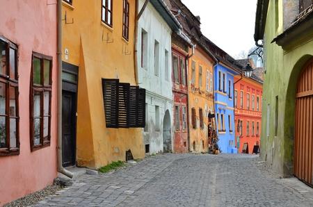 Medieval street in Sighisoara, Transylvania