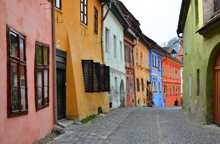 Medieval street view  in Sighisoara, Transylvania, founded by German colonists 免版税图像 - 11148413