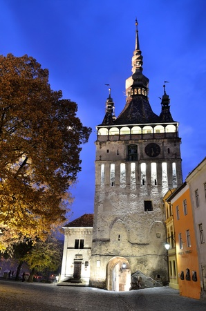 Sighisoara, Clock Tower, saxon landmark of Transylvania in Romania photo