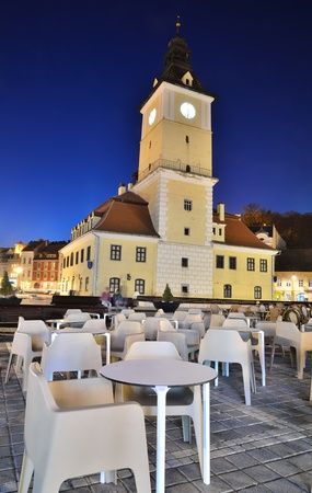 Brasov Council Square at twilight, Romania