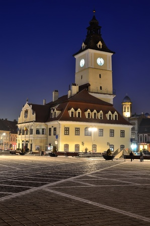 Brasov Council Square, twilight view, Transylvania, Romania