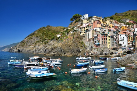 The town of Riomaggiore si a smal fisherman city, in Cinque Terre region of Italy photo