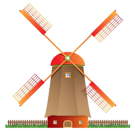 moinhos de vento: Cartoon windmill isolated on white background, vector illustration