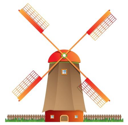 Cartoon windmill isolated on white background, vector illustration