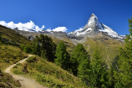 Matterhorn (Monte Cervino), Switzerland. One of the highest mountains from Alps and Europe (4484 m altitude) 免版税图像