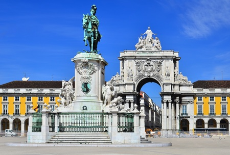 Praca do Comercio (Commerce Square) is located near Tagus River in Lisbon, Portugal. Stock Photo - 13106182