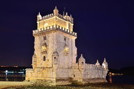 Belem Tower  Torre de Belem  is a fortified medieval tower located at the mouth of the Tagus River in Lisbon, Portugal  Editorial