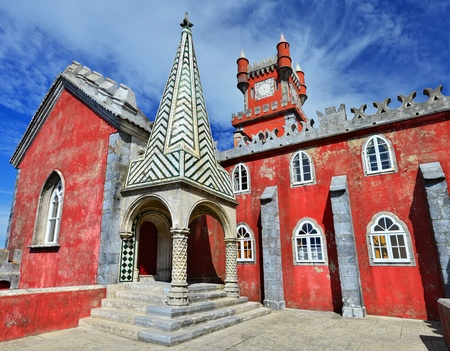 Pena Palace  Palacio da Pina  in Sintra, built on the rocky peaks of the Serra de Sintra, Portugal
