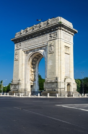 Arch of Triumph is located in the northern part of Bucharest, on the Kiseleff Road Stock Photo