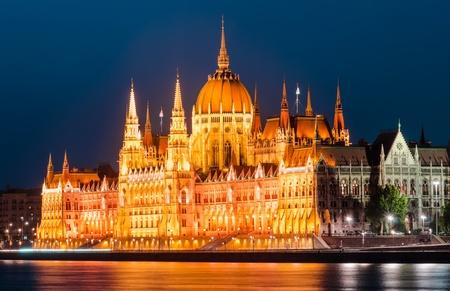 nightview: Hungary Parliament, Budapest Stock Photo