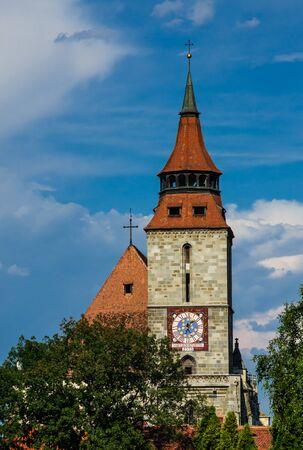 clocktower: Black Church clocktower in Brasov, Romania Stock Photo