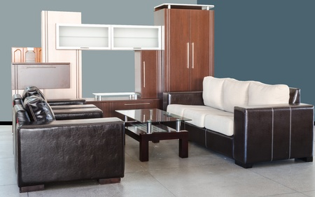 living room furniture: Modern living room with skin sofa, glass table and wardrobe