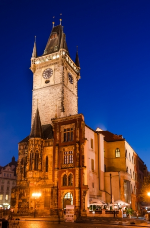 Stare Msto Old Time Hall and its tower, in night view. The tower was added in 1354, in gothic style, in the old center of Prague city of Czech Republic photo