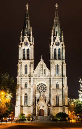 neo gothic: Saint Ludmila Church is a dominant cathedral of the Namesti Miru square in Prague´s quarter Vinohrady, built in imposing neo Gothic style with two high spires. Stock Photo