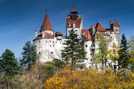 Bran Castle in autumn, landmark of Romania  Transylvania