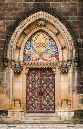 neogothic: Neo-Gothic portal of Church of St Peter and St Paul, Prague