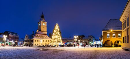 Historical old city center square of Brasov in Christmas days, Romania