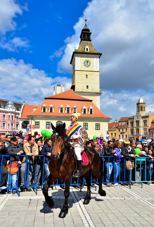 Brasov city days  777th anniversary , 22th april 2012  The most important event of this days is the The Juni  youth  Parade  one week after orthodox Easter   The Juni are a group of romanian horseman from the old Schei of Brasov  Stock Photo - 17269661