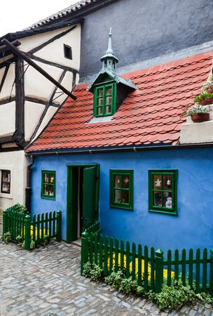 mannerism: Golden Lane, the street full of small houses built in Mannerism style of the 16th century  Prague, Czech Republic Stock Photo