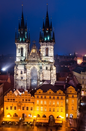 Church of Our Lady of Tyn, with gothic facade in Prague  Night view  photo