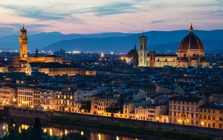 Florence Dome, Campanile Tower and Santa Croce church, night view, Tuscany in Italy photo
