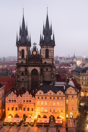 nightview: Prague, Czech Republic  Stare Mesto Square  and gothic Church of Our Lady of Tyn