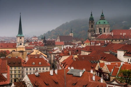 little town: Little Town old district of Prague with the St. Nicholas Church of Mala Strana.