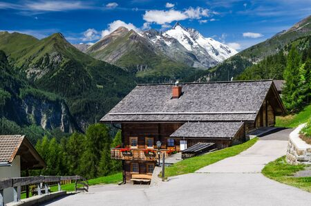 Rural landscape, Tirol Alps with the highest mountain from Austria, Grossglockner photo