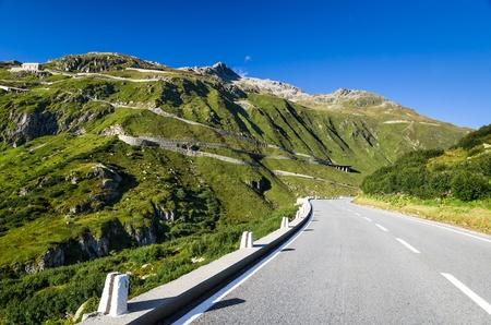 Furka Pass highway, high mountain pass in the Swiss Alps, Switzerland Stock Photo