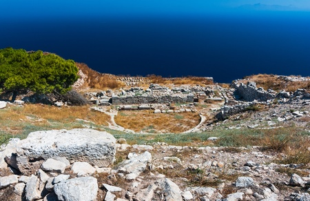thera: Ancient theater in Thira, built in 2nd century. Santorini island in Cyclades, Aegean Sea of Greece.