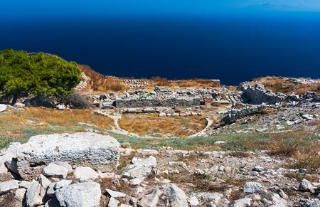 antigua grecia: Teatro antiguo en Thira, construido en el siglo segundo. La isla de Santorini en las Cícladas, Mar Egeo de Grecia.
