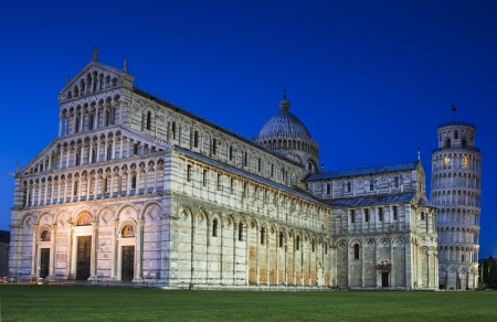 Campo dei Miracoli in Pisa, Italy  Pisa's world famous Leaning Tower and Duomo, built in medieval times, attraction of Tuscany
