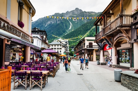 CHAMONIX, FRANCE - AUGUST 19 Image with terraces in city Chamonix, taken on August 19, 2011, France  Chamonix-Mont-Blanc is a commune in the Haute-Savoie departement in south-eastern France