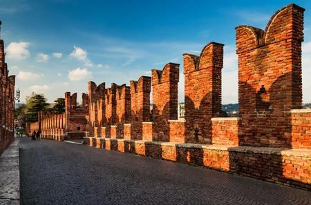 Medieval bridge of Ponte Scaligero in Verona, Italy, built in 14th century photo