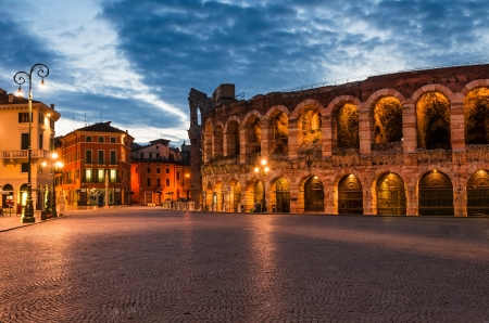 The amphitheatre, completed in 30AD, the third largest in the world, at dusk time  Piazza Bra and Roman Arena in Verona, Italy