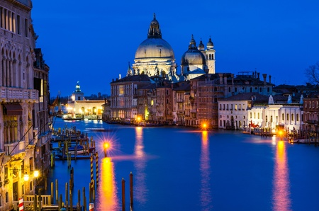 Twilight image of Grand Canal in Venice, with Santa Maria della Salute church  Italy landmark  photo