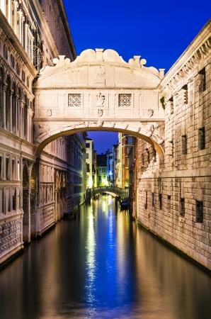 Bridge of Sighs (italian Ponte dei Sospiri) in Venice, illuminated in the night. Italy landmark.