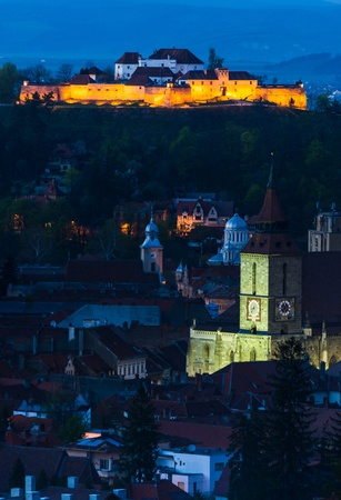 nightview: Nightview of Brasov, Transylvania, Romania, with Black Church and medieval Fortress