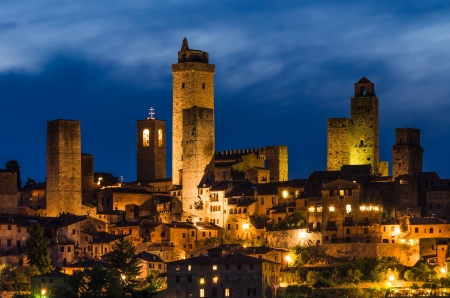 San Gimignano is a small walled medieval hill town in the province of Siena, Tuscany, north-central Italy  写真素材